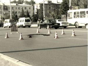 Провал в центре Омска