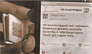 Необычную книгу создали омские микроминиатюристы Анатолий и Станислав Коненко. На ее страницах представлены строки «Евгения Онегина» в виде OR-кода — двухмерного кода быстрого распознавания